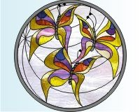 Butterflies stained glass needle point window cling pattern of three butterflies []$2.00 | PDQ Patterns