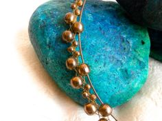 Brass Necklace  Memory Wire with Woven Beads by ReTainReUse, $18.00