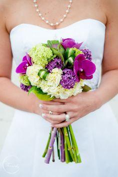 Bold wedding bouquet with plum, aubergine, citron green and cream.  Ella Bella