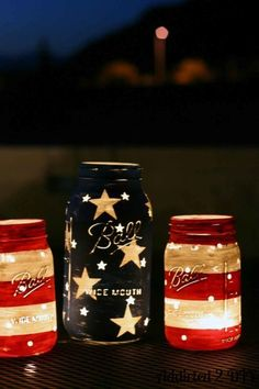 Light up your 4th of July barbecue with these painted mason jars.  Get the tutorial at Addicted 2 DIY.