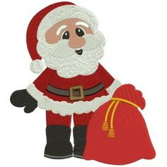 Santa With Presents Christmas Filled Machine Embroidery Digitized Design Pattern