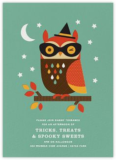 Owl in Disguise Halloween Invite Card - Petit Collage for Paperless Post