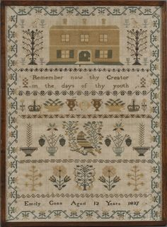 English Sampler ~ Emily Cone Aged 12 Years 1837, England, worked in silk threads on a linen/wool ground with a large house flanked by trees, flowers, and birds over a pious verse, with three borders depicting crowns, urns, flowers, and baskets of fruit, birds, potted plants, and flowering vegetation, enclosed in a geometric flowering vine