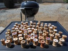 Vintage Wooden Thread Spools, Lot of 81,cool!!