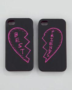 Unique gift idea! Rebecca Minkoff Best Friends iPhone Case Set, Black/Pink