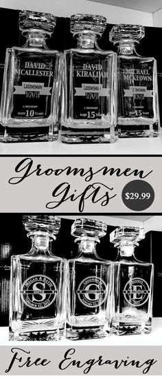 Our Lead Free All Glass Whiskey Decanter is the Perfect Gift for your groomsman! Engraved with their name, position in the wedding, wedding date or change it to fit your perfect engraving. This Whiskey Decanter is a Memorable Keepsake That Can be Used Daily – with Permanent Engraving That Will Last a Lifetime.