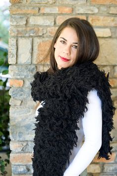 Black knitted scarf Hand knitted scarf Fun Fur Woolen by PlexisArt