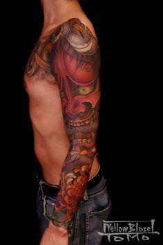 Amazing Sleeve by Shigi. Great use of color and mode - Yellowblaze Cover Tattoo, S Tattoo, Sleeve Tattoos, Asian Tattoos, Tribal Tattoos, Japanese Demon Tattoo, Traditional Japanese Tattoos, Japanese Style, Hannya Mask Tattoo