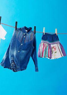 Tuunattu paita ja hame SK7/14. Refashion, Denim Shorts, Children, Diy, Boys, Bricolage, Kids, Big Kids, Jean Shorts