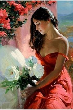 Beautiful Painting - 'White Flowers' by Vladimir Volegov Woman Painting, Painting & Drawing, Dress Painting, Figure Drawing, Painted Ladies, Fine Art, Beautiful Artwork, Most Beautiful Paintings, Female Art
