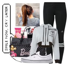 """""""Dance practice with the crew"""" by jaguare ❤ liked on Polyvore featuring moda, adidas, Moschino e Vans"""