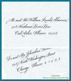 Wedding calligraphy - copperplate formal
