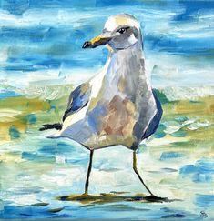 Portable of a seagull Ocean sea beach bird animal Seaside Style, Farm Art, People Art, Freelance Illustrator, Oil Painting On Canvas, Art Oil, Art Projects, Art Gallery, My Arts