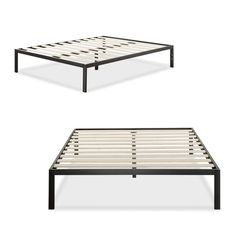 The Priage platform bed fits a twin size mattress. It features a steel frame with contemporary clean lines. The wooden slats provide strong support for your mattress removing the need for a box spring