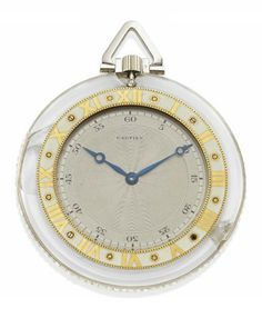 AN ART DECO ROCK CRYSTAL, DIAMOND AND PLATINUM POCKET WATCH, BY CARTIER, circa 1925