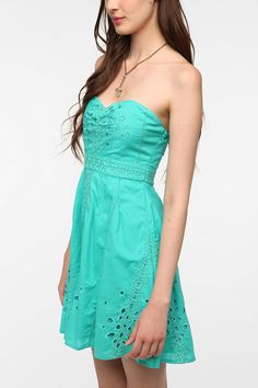 Eyelet strapless sundress with sweetheart neckline...the most flattering thing ever invented, that neckline.