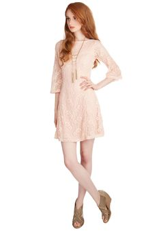 Woo is Me Dress. Infuse your dinner date with a dash of darling by arriving in this pretty pink dress! #blush #modcloth
