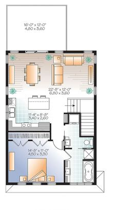 2nd level Contemporary style garage apartment house plan with open floor plan, large terrace and full apartement - Mercer