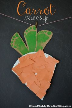 Carrot Kid Craft. #kids #children #mosaic #carrot #preschool #prek #Kindergarten #footprint #paper #paperplate #orange #veggie #vegetable #craft #diy #inexpensive #simple #spring #summer #home