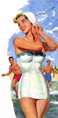 Joe Bowler - amazing white swimsuit illustration!