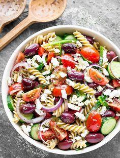 Big bowl of Greek pasta salad