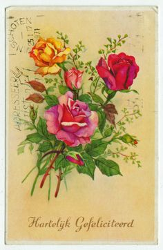 Postcards - Greetings & Congrads # 608 - Happy Birthday with Roses