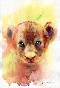 Lion Cub - ORIGINAL watercolor painting 7.5x11 inches