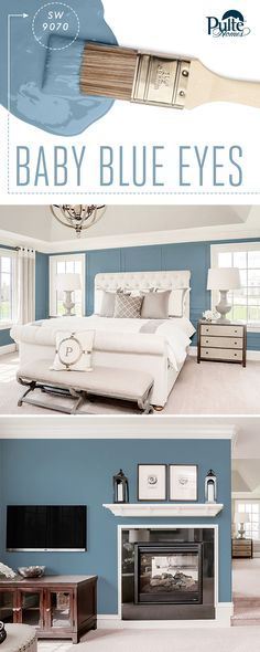 Check out these baby blues! This pastel paint color from @Sherwin-Williams balances strong architectural details and makes a mostly white living space a true standout. | Pulte Homes