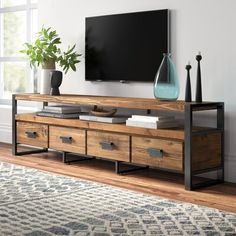 Kylee Solid Wood TV Stand for TVs up to 88 inches – Mein Stil Reclaimed Wood Tv Stand, Solid Wood Tv Stand, Wood Tv Stands, Tv Stand Metal And Wood, Tv Stand Natural Wood, Living Room Tv, Home And Living, Tv Stand Ideas For Living Room, Tv Furniture