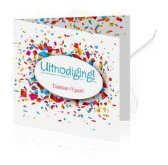 Zelf kinderfeestje kaarten maken. Een leuke kaart met confetti, echt een uitnodiging voor een feestje. #kaarten #kinderfeestje #confetti #feestje #kleuren Confetti