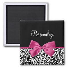 Shop Vivacious Dark Pink Ribbon Leopard Print With Name Magnet created by ohsogirly. Personalize it with photos & text or purchase as is! Pink Leopard Print, White Leopard, Pattern Design, Print Design, Printed Magnets, Purple Ribbon, Cute Bows, Art For Kids, Flat