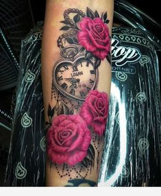 Roses and vintage watch tattoo – Rose Tattoos Mommy Tattoos, Dope Tattoos, Girly Tattoos, 3d Tattoos, Pretty Tattoos, Beautiful Tattoos, Body Art Tattoos, Tatoos, Mama Tattoo