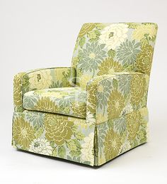 """Zoe Nursery Chair, by Sarah Richardson. """"You've been through enough by the time you get that little bundle of joy home, so why not make nursing as comfortable as possible! I chose the perfect arm height and just the right depth and support; then I added a little swing, rock and pivot to create a nursing chair that parent and child alike are sure to enjoy."""""""