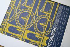 Pittsburgh, Pennsylvania Travel Print from JHill Design