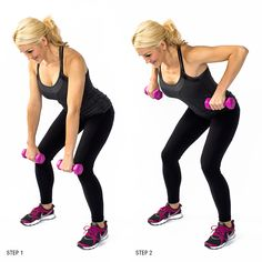 Dumb Bell Row to strengthen lat muscles. Read now for 7 Makeover moves to tone and tighten