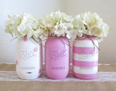 Distressed Mason Jars in Baby Pink, White w/ Pink Polka Dots, Pink & White Stripes, Baby Shower Centerpieces,  Mothers Day, Nursery Decor by MyHeartByHand on Etsy https://www.etsy.com/listing/290426721/distressed-mason-jars-in-baby-pink-white