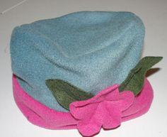 Handmade fleece hat.  Fleece is easy to sew!