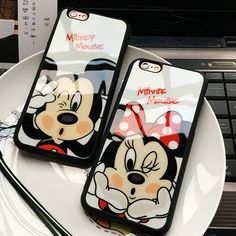 Luxury Soft Silicone Acrylic mirror Case for iPhone 6 Cases 5s 5 SE 6s Plus iphone 7 Case plus Cases Cute Minnie Mickey Cover 12
