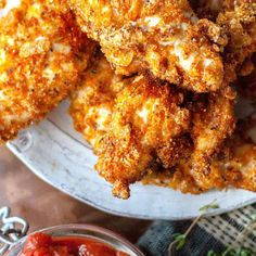 These crunchy, dippable and delicious keto fried chicken tenders are delish and low carb Ingredients 3 Lbs Chicken Tenders 4 Ounce Pork Rinds 2 Teaspoon Thyme 1 Teaspoon Sea Salt 1 Teaspoon Black Pepper .credits little pine low carb. Low Carb Fried Chicken, Fried Chicken Tenders, Fried Chicken Recipes, Keto Chicken, Pork Recipes, Diet Recipes, Recipies, Recipes With Pork Rinds, Curry Fried Chicken