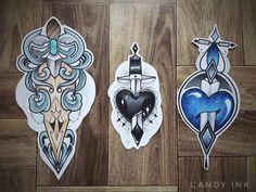 #neo #traditional #tattoo #design #heart #bird #skull #knife #black