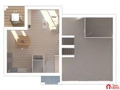 Maisons VESTA : plan du sous-sol et du rez-de chaussée du modèle Modèle Olympe (demi-niveau style contemporain). Surface : 85m² + 45.77 m² de surface annexe