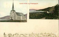 Troms fylke Lenvik kommune Lenvik kirke og prestegård Pent to bilders kolorert fargekort Utg E.A.Normann, Gibostad 1900