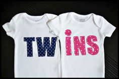 Boy and Girl Twins onesies on Etsy, $35.50