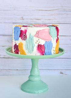 Had so much fun playing around with color and texture for this painted buttercream cake! Pretty Birthday Cakes, Pretty Cakes, Cute Cakes, Beautiful Cakes, Amazing Cakes, Colorful Birthday Cake, Art Birthday, Fancy Cakes, Bolo Diy