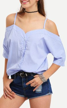 Vertical Striped Off-The-Shoulder Cami Blouse. The casual blouse has the special heart shape neckline and low cut shoulder line. Adorable with strap and pure blue color. Prefect for my dating days with only US$13.99.
