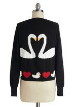 Swan Love Cardigan | Mod Retro Vintage Sweaters | ModCloth.com....I'd sew letters onto this