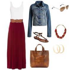 red maxi skirt with brown belt ,white tank, big bag, sandles, blue jeen jacket and some and shades and neckless....love this