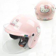 Hello Kitty Kid 3/4 Motorcycle Helmet Heart Glitter Pink Sanrio
