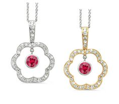 Open Carnation Floral Ruby & Diamond Pendant Necklace