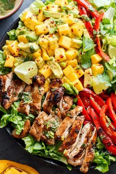 Cilantro Lime Chicken Salad With A Mango And Avocado Salsa! Holding onto Summer for a just a bit longer, this Cilantro Lime Chicken Salad has so much flavour in it with a creamy/sweet Mango Avocado Salsa for an extra Summer feel! Summer Salad Recipes, Salad Recipes For Dinner, Dinner Salads, Summer Salads, Clean Eating Salads, Healthy Salads, Healthy Recipes, Snack Recipes, Dessert Recipes